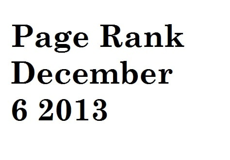 google page rank update December 6 2013